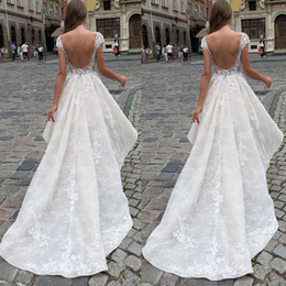 color high low wedding dresses Canada - Sexy Short Front Long Back High Low Wedding Dress Bateau Neck Capped Sleeves Backless Lace Bridal Gown Custom Made