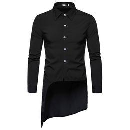 $enCountryForm.capitalKeyWord UK - 2019 Spring summer asymmetric design men long shirt vintage street punk hip hop blouse mens black white red casual shirts camisa