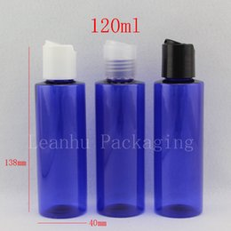 Discount disk packaging - 120ml X 50 blue cream bottle with disk cap 120cc colored shampoo bottle, 4OZ cosmetic container packaging Flat shoulder