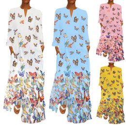 $enCountryForm.capitalKeyWord Australia - Cross-border explosion models 2019 stand alone autumn and winter hot long-sleeved round neck pocket retro butterfly print dress