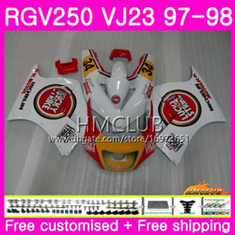 rgv fairings Canada - Bodys For SUZUKI SAPC RGV-250 VJ22 VJ21 RGV 250 97 98 99 Frame 19HM.0 RVG250 VJ23 RGV250 VJ 21 22 23 1997 1998 1999 Fairing Lucky red white