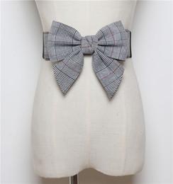 68467705f71 2019 Cotton PU Bowler Belt For Women Vintage Check Pattern Waist Belt  Caestus Ladies Big Bow Shirt Dress Belts Female Cummerbund