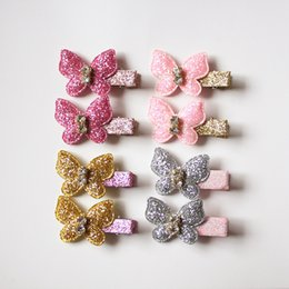 Wholesale New Baby Resale Glitter Felt Shinning Pearls Modish Girls Hair Clips Animals Butterfly Hairpin Girls Hair Ties Nylon Rope Barrettes Cheap