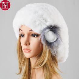 real rabbit fur hats 2019 - New Fashion Lady Good Elastic Beret Knitted Rex Rabbit Fur Beanies Hat Women Winter Rex Rabbit Fur Hats 100% Real Cap di