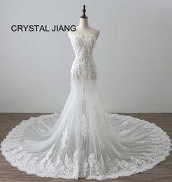 8b4fb38d80e Mermaid Wedding Dresses Real Sample UK - 2018 New Fashion Sweetheart Lace  Applique Mermaid Wedding Gown
