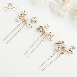 wedding gold hair pieces UK - Bavoen 3 pieces  lot Women Sparkling Brides Hairpins Gold Crystal Bridal Hair Combs Pearls Hairbands Wedding Hair Accessories