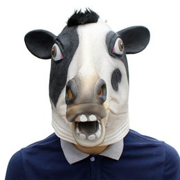 Wholesale adult cosplay cow online – ideas Animal Head Mask Latex Deluxe Novelty Halloween Costume Party Cow Party Cosplay Accessories