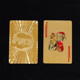 Hot toys material online shopping - Metal Exquisite Material Playing Cards DIY Creative Gold Plated Foil Simple Portable Poker Anti Wear Hot Sale yq I1