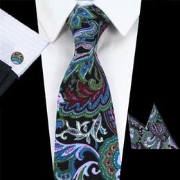 $enCountryForm.capitalKeyWord Australia - GUSLESON 100% Cotton Mens Tie Set Floral Neck Tie Handkerchief Cufflinks 8cm Classic Wedding Paisley Ties for Men Suits Corbatas