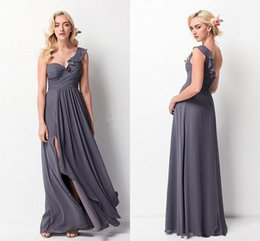 flowy floor length dress Australia - 2019 Custom Made Long Bridemaid Dresses Flowy Gray Slit Chiffon One Shoulder Floor Length Maid Of Honor Gowns