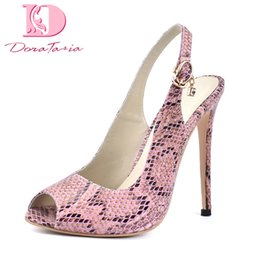 snake print sandals NZ - wholesale brand design snake print plus Size 34-42 sexy peep toe sandals women Shoes thin High Heels party shoes woman sandal