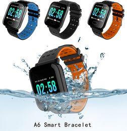 Orange Heart Boxes Australia - Top A6 Sport Smart Band Blood Pressure Smart Bracelet Heart Rate Monitor Fitness Tracker IP67 Waterproof Smart Wristband Watch With Box