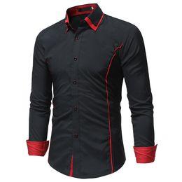Shirt Korean Designs Australia - 2019 Fashion Brand Camisa Masculina Long Sleeve Shirt Men Korean Slim Double Collar Design Casual Dress Shirt Plus Size Black #700937