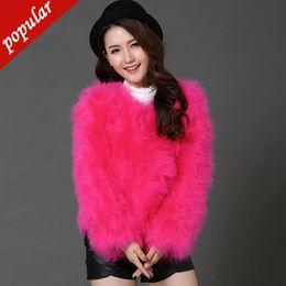 $enCountryForm.capitalKeyWord Australia - 14 Colors Hot Sale New Women Autumn Winter Short Fur Add Cotton O-neck Full Sleeve Solid Ostrich Feather Fur Coat