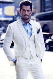 $enCountryForm.capitalKeyWord Canada - Summer White,Ivory Linen Men Suits 2018 Wedding Slim Fit Groom Tuxedo Handsome Best Men Blazer 3 Pieces Jacket+Pants+Vest CY13