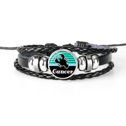 $enCountryForm.capitalKeyWord UK - 2019 Punk 12 Constellations Zodiac Cancer Time Gem Glass Cabochon Bracelets Genuine Leather Rope Beaded Jewelry Women Men Casual Unique Gift