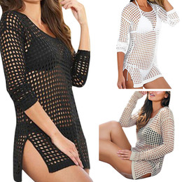 Hot Sexy White Dresses Australia - Women Summer Sexy Mesh Knitted Crochet Swimsuit Beach Cover up Swimwear Dress Bikini Wrap Bathing Suit Hot Cover Ups 2506027