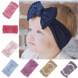 headbands bow Australia - Free DHL 21 Colors Baby Hairband Toddler Bow Hairband Lace Tassel Baby Girls Headband Big Knot Turban Kids Hair Accessories INS Wholesale