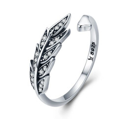 factory rings NZ - SCR313 factory price cz stone gemstone retro adjustable diamond leaf charm 925 silver finger ring women jewelry girls