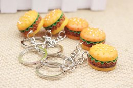 Artificial Chains Wholesalers Australia - Popular Cute Hamburger Keychain Artificial Simulation Food Pendant Key Ring Key Chains Fashion Accessories Christmas Gift