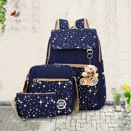 Cute Korean Style Backpacks Australia - Female Women Backpack Fashion Cute Korean Preppy Style Cotton Canvas Backpack Travel Student School Bag For Teenage Girls 3 Bags