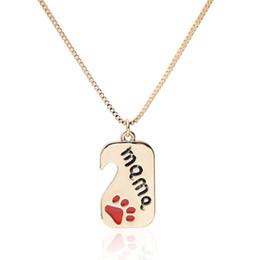 $enCountryForm.capitalKeyWord Australia - Meirenpeizi Petite Cute Golden Color Pendant Necklace Pet Paws Lettering Zinc Alloy Custom Necklace Mother's Day Gift For Mom