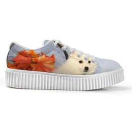 canvas dog shoes UK - Exclusive New American Eskimo Dog Low Top Height Increasing White Canvas Platform Shoes Print Flats Shoes Female Lace-up Stylish