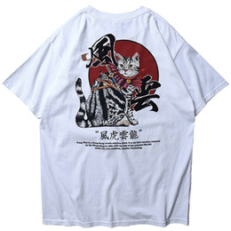 c3ebc7ba30 2019 Men Harajuku T Shirt Japanese Samurai Cat Tshirt Streetwear Hip Hop  Summer Cool T-Shirt Short Sleeve Cotton Tops Tees White