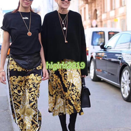 High End Drawstrings NZ - women girls gold hibiscus letter print jersey jogging pant drawstring waist legging casual vintage trousers high-end fashion luxury dress