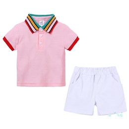 Wholesale boys polo t shirts resale online - Children s Clothing Rainbow Collar Polo Shirt Short Pants Suit Boy Clothing Sets Outfits T shirt Shorts Set Tracksuits Clothes CZ326