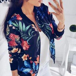 Abrigo de las mujeres con estampado floral de la cremallera chaqueta hasta la capa ocasional otoño de manga larga outwear mujeres chaqueta básica bomber famale 5xl en venta
