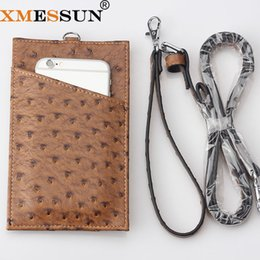 $enCountryForm.capitalKeyWord Australia - Genuine Leather Card Holder Phone Wallet Ostrich Cow Leather With Lanyardr Pouch Phone Bag For iPhone X XS Max XR 6 6S 7 8 Plus