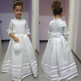 HigH collar sHirts for kids online shopping - Modest White High Neck Half Sleeve Flower Girl Dresses Princess A Line Appliques First Communion Wears For Kids Toddler Formal Wear