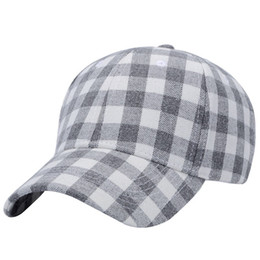 $enCountryForm.capitalKeyWord Australia - classic fashion curved visor for man and woman street dance cap ball cap grey check cotton free shipping