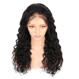 Front lace wig 1b online shopping - AiS Human Hair Wigs For Black Women Full Lace Wig Front Lace Wig Water Wave Natural B Color Brazilian Remy Hair Wigs With Baby hair