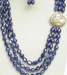 "$enCountryForm.capitalKeyWord UK - jewelry 1024+++20"" 3row 12mm baroque navy blue pearls necklace dangle Earrings"