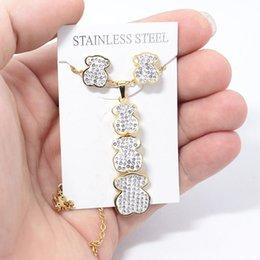 Großhandel Art und Weise Shell Bären-Anhänger goldene Silber-Edelstahl-Halsketten-Ohrringe Frauen-Mädchen-Schmucksache-Sätze