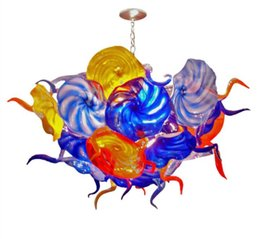 $enCountryForm.capitalKeyWord Australia - Style Colorful Flower Plates Chandelier Lighting AC LED Pendant Light New House Elegant Home Lighting Hand Blown Glass Chandelier