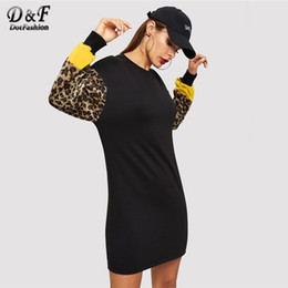 block color sweatshirts 2019 - Dotfashion Leopard Print Color Block Sweatshirt Dress Women Autumn Casual Long Sleeve 2018 Clothing Fashion Straight Sho