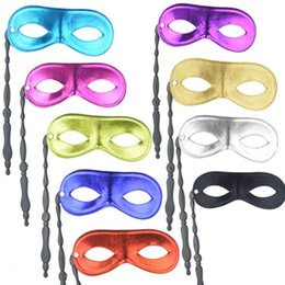 Men Mask Stick Australia - 100 pieces lot New men and women's masquerade ball masks on sticks Party favor Dress up 10 colors available LX6508