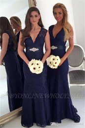 Plus Size Belts Cheap Australia - Cheap Dark Navy Bridesmaid Dresses 2019 Sexy A Line V Neck Plus Size Maid of Honor Gowns Wedding Guest Evening Party Wears with Belt