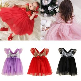 Infant Tutus Wholesale Australia - Baby Girl Dress Summer Infant Baby Girl Clothes Sequin Mesh Tutu Dress Baby Princess Party Dresses Toddler Kids Clothes Girls Clothing B11