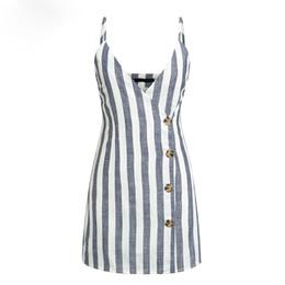 $enCountryForm.capitalKeyWord UK - Linen Elegant Women Summer Dress V-neck Button Sexy Summer Dress Spaghetti Strap Ladies Party Mini Dresses Vestidos