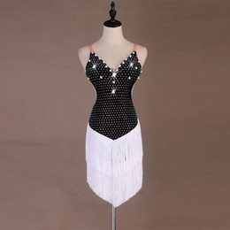 black white dance dresses Australia - Women Black Shining Rhinestones White Tassel Beading Sexy Latin Dance Dress Latin Competition Dancing Dresses Dance Team Costume