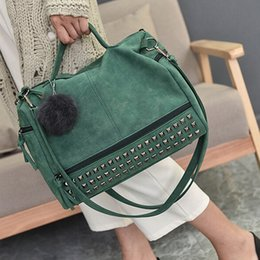 Motorcycle Hair Australia - Vintage Nubuck Leather Bags Rivet Larger Totes Women Crossbody Bags All-match Hair Ball Shoulder Bag Motorcycle Messenger #94699