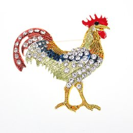 a30fa1e72 10pcs New a lot Fashionable ot 50mm Gold Plated Enamel Rooster Rhinestone  Animal Cock Brooch Pin