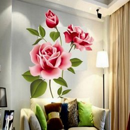 Wall art 3d floWers online shopping - Romantic Love D Rose Flower Blossom Wall Stickers Furnishings Living Room TV Decoration Wall Sticker Home Decor Decal Art