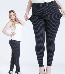 Best woman foots online shopping - 2017 new quality stripe big yards elastic leggings female feet Slim fit ankle pants more than best
