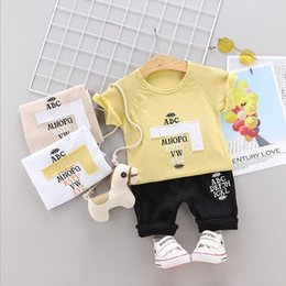 Old Fashioned Suits Australia - New Summer Children's Short Sleeve Suit Two-piece Fashion for 04-year-old Babies with Cartoon Alphabet Sticker Round-collar Short Sleev