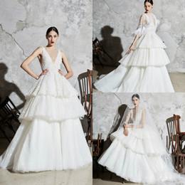 $enCountryForm.capitalKeyWord Australia - 2020 Zuhair Murad Wedding Dresses With Wrap Lace Deep V Neck A Line Cake Beach Wedding Dress Sweep Train Feather Boho Bridal Gowns